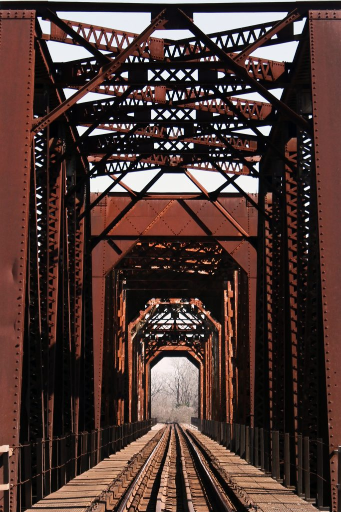 Historic train bridge over Brazos River in Fort Bend County, Richmond, Texas