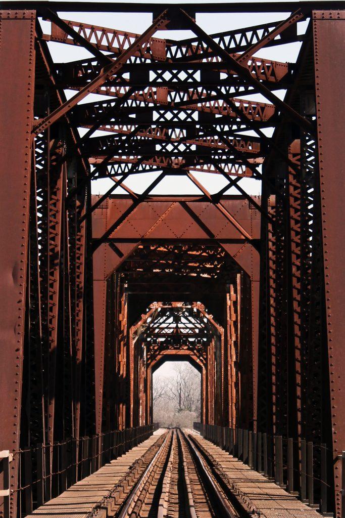 Historic train bridge over Brazos River in Fort Bend County, Richmond, Texas
